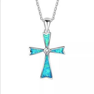 Cross necklace silver blue fire opal pendant